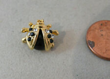 Ladybug Lady Bug Insect Black Rhinestone Gold tone Lapel Push Pin 3k 56
