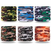 (Pack of 6) Camouflage Bandanas Headband Face Shield Scarf Neck Gaiter Balaclava