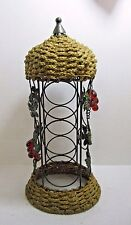 Wine Rack Round Done Basket Top and Bottom Glass Grapes 3 Bottle Holder