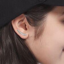 1Pair Silver Geometirc Earrings Stud Climbers Ear Crawler Gift for Womens