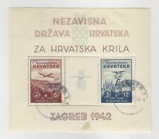 Croatia, Postage Stamp, #B11 VF Used Sheet, 1942 Airplane