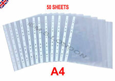 50x A4 Punched Clear Plastic Filing Poly Pockets Sleeves Wallets Folders OFFICE