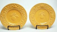 "BORDALLO PINHEIRO Salad Plate 8 1/8"" EMBOSSED Yellow Gold Pear Apple Set of 2"