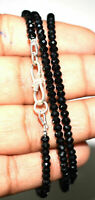 """925 Sterling Silver 12-40"""" Necklace Natural Black Spinel 4mm Round Cut Beads MV1"""
