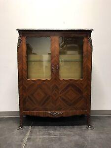 French Provincial Louis XV Inlaid Kingwood Bronze Ormolu Vitrine Curio Cabinet