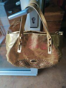 Francesco biasia Gold Leather Bag
