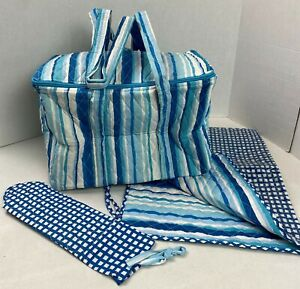 Quilted Diaper Bag Blues & White w/ Changing Pad & Bottle Bag NEW #21H