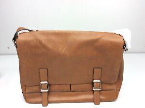 Frye Oliver Messenger Cognac Brown Antique Distressed Leather Bag Brief