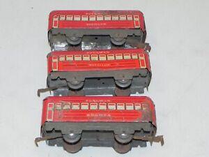 Marx O Ga Set of 3 Lithograph Metal Passenger Cars Montclair & Bagota Zinc Frame