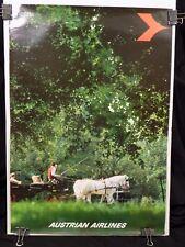 Vintage Original Austrian Airlines Vienna Travel Poster 33 x 23.5 Austria