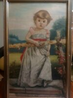 ANTIQUE PAINTING LATE 1800'S GIRL WEARING BONNET BY  FENCE FRAMED