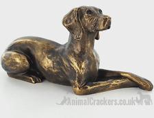 More details for 23cm bronze effect laying weimaraner dog lover gift sculpture ornament figurine