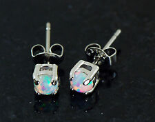 1 Pair 316L Surgical Steel 4MM White Color Fire Opal Earrings Ear Studs 20G
