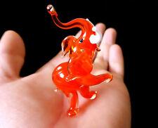 "MURANO ITALY STYLE 2.2"" orange ART GLASS figurine LUCKY ELEPHANT ornament figure"