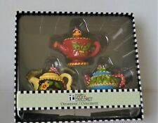 Mary Engelbreit Me Ink Teapot Christmas Ornaments Set of 3 Assorted ~ New in Box