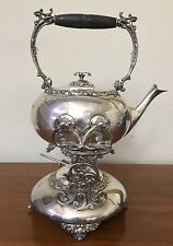 Antique 1800s Meriden B Co Tea Kettle Pot Water Burner Victorian Quadruple Plate