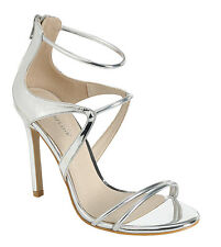 Women Metallic Open Toe Single Sole Triple Ankle Strap Stiletto Heel Pump Sandal