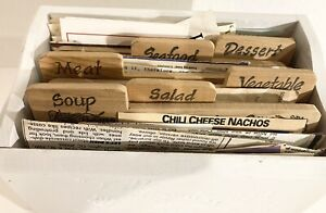 Vintage  Recipe Box ~ Wooden Dividers ~ Old Recipes Handwritten, Typed & Clipped