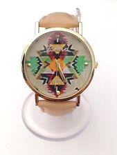 """Montre femme """"Aztèque"""" Bracelet beige (Vintage swag watch)"""
