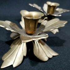 Brass Tapered Pillar Candle Holders Poinsettia Holly Leaf Christmas Holiday