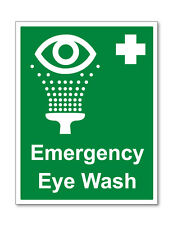 2 x EMERGENCY EYE WASH WARNING SELF ADHESIVE STICKERS SAFETY SIGNS BUSINESS