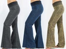 S-3X Womens Denim Wash Fold Over Waist Long Yoga Pants Flared Leg Stretch Cotton
