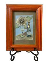 Vintage Sunflower & Wine Original Pastel Artwork Decor Wall Hanging  ~ SIGNED