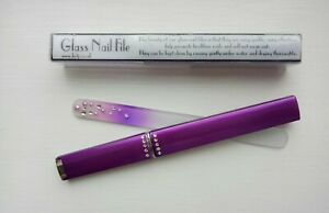 10 x Quality Glass Nail Files In Display Case with Crystals and Pearls