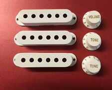 Mighty Mite Squire/Import Strat Style Pickup Covers and Knobs in White