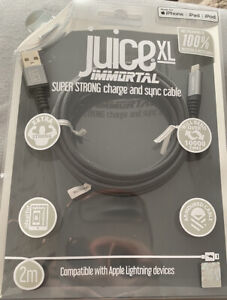 Juice Immortal Lightning Charge and Sync Cable 2m (Grey) – iPhone iPad iPod
