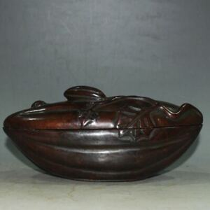 Collectible Copper Incense Burner Papaya Shape Brass Statue XL206