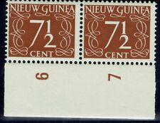 Ned Nw Guinea NVPH 7, 7 1/2 ct roodbruin, strip van 2 zegels, postfris