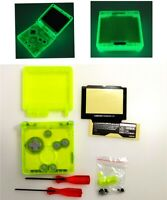 Glow In The Dark Clear Yellow Shell Housing Case For Game Boy Advance SP GBA SP