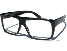FLAT TOP CLEAR LENS UNISEX GLASSES NERDY COOL BLACK FRAME Hipster Specs NEW