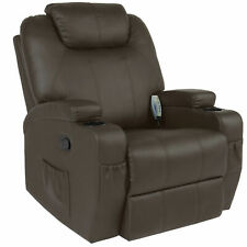 Executive Swivel Massage Recliner w/ 5 Heat Modes, 92lbs (Brown) 2 Cup Holders,