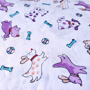 """PURPLE DOG PUPPY PRINT POLY COTTON FABRIC 58"""" BY THE YARD DOGGY BONE ON WHITE"""