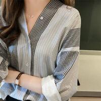 Korean Women Loose Stripe Shirt V Collar Top Bottom_Plus Size Casual Slim_Blouse