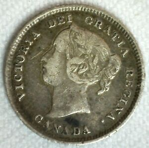 1884 Canada 5 Cents Silver Coin Very Fine Circulated Canadian Victoria Ruler