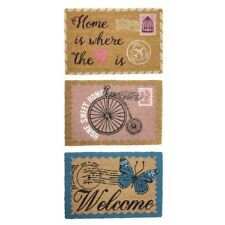 JVL Vintage Latex Backed Welcome Home Coir Door Mat - 40cm x 60cm - RANDOM