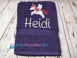 Personalised Towel, Kids Purple Swim/Bath Unicorn Towel (Choice of colours)