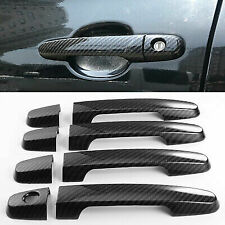 Carbon Fiber Print Exterior Door Handle Plastic Cover 1 Keyhole For 07-11 Camry