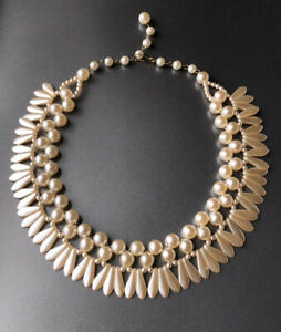 Vintage Glass Faux Pearl Short Necklace Choker French 1950s Gorgeous VGC