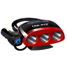3Way LED Car Socket Cigarette Lighter Splitter 2USB Power Charger Adapter 12-24V