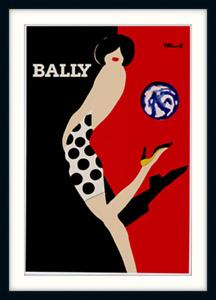 BALLY KICK VINTAGE BY BERNARD VILLEMOT FRAMED READY TO HANG