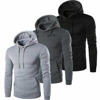Mens Hoodies Pullover Hooded Sweatshirt Top Plain Jacket Warm Coat Jumper US