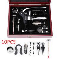 10Pcs Wine Tool Set Bottle Opener Corkscrew Accessories Wooden Gift Box