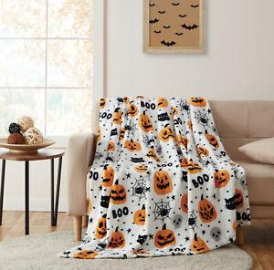 Halloween BOO! Pumpkins & Spiders Ultra Soft & Plush Accent Throw Blanket