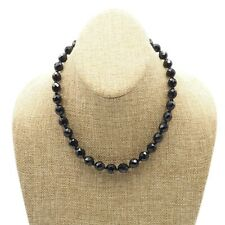 Vintage Black Glass Faceted Bead Gold Tone Hook Clasp Choker Necklace  17 Inch