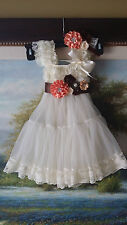babydoll lace dress petti dress ruffler sash flower girl teaparty Birthday party