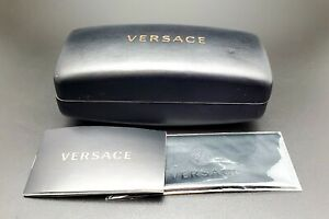VERSACE BLACK HARD LEATHER CLAMSHELL SUNGLASSES EYEGLASSES CASE CLOTH DOCUMENTS